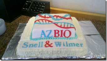 As we get ready to head to DC June 27 - 30 for Bio International in DC, Snell and Wilmer hosted a get together for the Arizona Pavilion Team. Check out the great cake made by MariBeth's husband, Brent Ackzen (Cakes by Brent).  It looked GREAT and tasted event better. :-)
