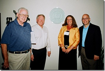 Dr. Jack Dean, Dr. Ken Wertman, Joan Koerber-Walker, and Mike Capaldi with Sanofi US LEED GOLD emblem. Photo courtesy of Sanofi US.  All Rights Reserved