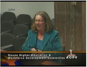 Joan Koerber-Walker presents to the House Higher Ed and Workforce Committee