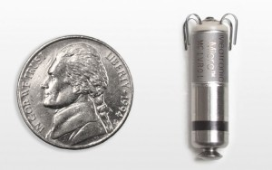 Medtronic on Monday announced the first in-human implant of the world's smallest pacemaker, a vitamin-sized device that is implanted directly inside the heart.