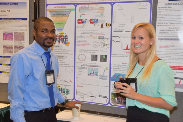 Students with scientific poster