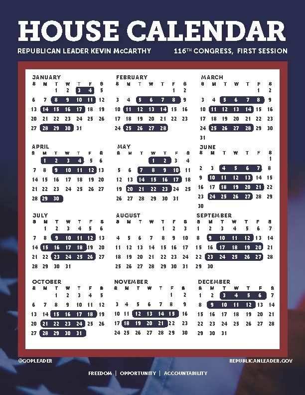 Congressional Calendar 2020 Congressional Calendar – 116th Congress – AZBio