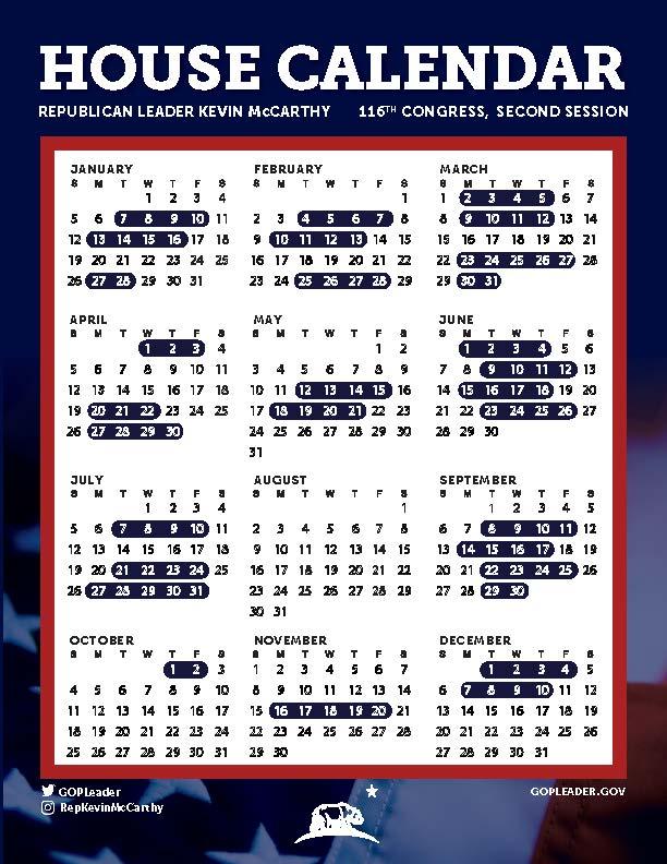 Congressional Calendar 2021 Congressional Calendar – 116th Congress | AZBio