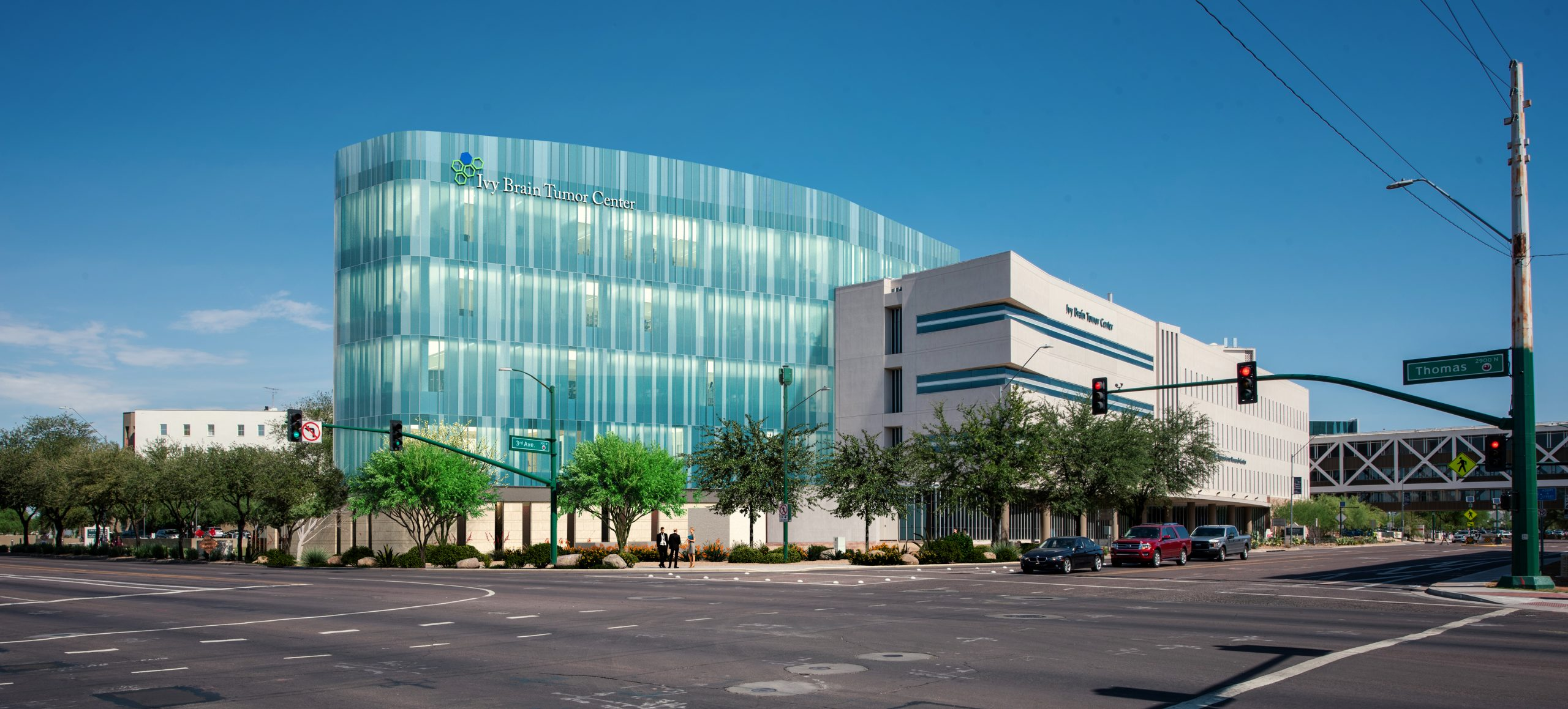 A rendering of the Ivy Brain Tumor Center's new global headquarters. The five-story building will be the largest translational research center dedicated to brain tumor drug development in the world. Construction is expected to be completed in early 2023. It will be located on the Dignity Health St. Joseph's Hospital and Medical Center campus in Phoenix, AZ. Photo Credit: Devenney Group, Ltd. Architects